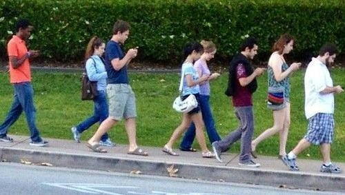people with phones